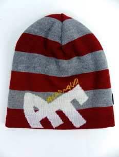 Beanie Blockstripe Sock Bordeaux Grey