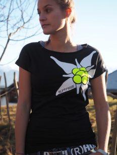 Women T-Shirt Edelweiß Black