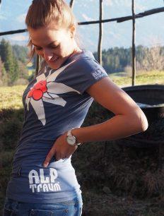 Women T-Shirt Edelweiß Midblue