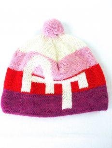 Beanie 4 Stripe Pink