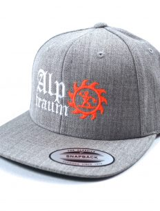 snapback cap old english grey-orange